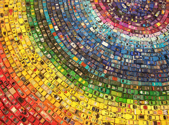 Pic: this is what a rug made out of 2,500 toy cars looks like