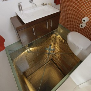 Glass-floor toilet above elevator shaft will scare the crap out of you