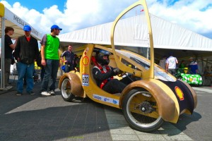 Urban car of the future powered by hydrogen, made of cardboard