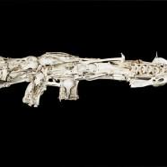 Gun replica made from animal bones